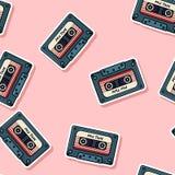 Retro de stickers naadloos patroon van de mengelingsband De jaren '80achtergrond van textuuretiketten royalty-vrije illustratie