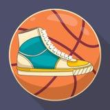 Retro de stijl Vectorillustratie van basketbaltennisschoenen Stock Fotografie