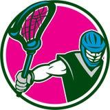 Retro de Stokcirkel van Crosse van de lacrossespeler stock illustratie