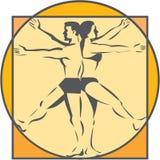 Retro de Tekening van de de Benenlijn van DA Vinci Male Female Side Arms Stock Foto's