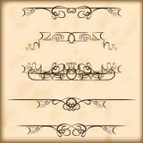 Retro de tekstverdelers en decoratie van ontwerpelementen Royalty-vrije Stock Afbeeldingen