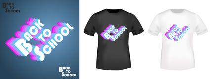 Retro de volta ao selo da cópia da camisa da escola t Imagem de Stock
