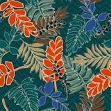 Retro de zomer tropische bladeren met hand getrokken overzicht op zigzag l vector illustratie