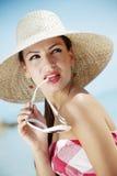 Retro de zomermeisje Royalty-vrije Stock Foto