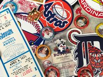 Major League Baseball Stickers. Retro decals and pins of Major League Baseball teams stock photography
