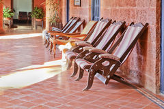 Retro deck chairs on Patio Royalty Free Stock Photo