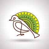 Retro decorate bird with designer background Royalty Free Stock Photography