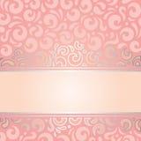 Retro decoratieve roze & zilveren ontwerp van het uitnodigings uitstekende behang Royalty-vrije Stock Afbeeldingen