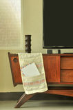 Retro decoration on television cabinet Royalty Free Stock Photo
