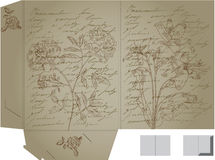 Retro decorative folder with flowers Royalty Free Stock Image