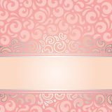 Retro decorative pink & silver invitation vintage wallpaper design Royalty Free Stock Images