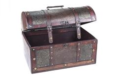 Retro decorative treasure box from wood. Trunk chest on white background. royalty free stock photography