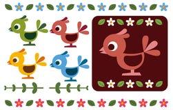 Retro decorazione del fiore e dell'uccello royalty illustrazione gratis