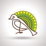 Retro decori l'uccello con il fondo del progettista illustrazione vettoriale