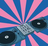 Retro deejay. Turntables & audio mixing console with retro background (vector eps format Royalty Free Stock Photos