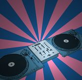 Retro deejay. Turntables & audio mixing console with retro background Royalty Free Stock Photo