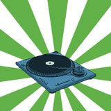 Retro deejay. Turntable with green retro background (vector format stock illustration