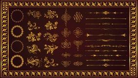 Retro dekorativ färg för guld för ramgränskonst royaltyfri illustrationer