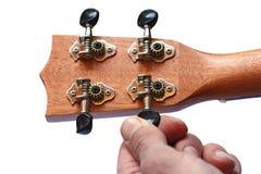 Retro della testa motrice delle ukulele, isolato Fotografie Stock Libere da Diritti