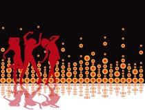 retro deltagare för illustration för bakgrundsdiskoreklamblad Royaltyfri Foto