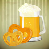 Retro Design - beer and  pretzels Stock Photography