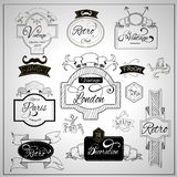 Retro design catchwords elements on whiteboard Stock Image