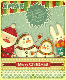 Retro design of Christmas card Stock Photos