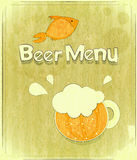 Retro Design Cover of Beer Menu Stock Images