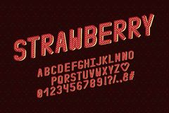 Retro- Design des Alphabetes Erdbeerfarbart Buchstaben, Zahlen, Interpunktionszeichen Monospaced-Gussvektortypographie ENV 10 lizenzfreie abbildung