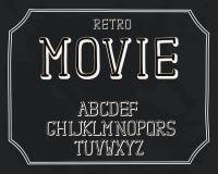 Retro- Design des Alphabetes Handstift Serifguß, Linie Art Englische Sprachbuchstaben Schriftbildclipart, Vektorillustration stock abbildung