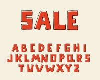 Retro- Design des Alphabetes, quadratische Form Mutiger Guss des Handstiftes, Typografieart Englische Sprachbuchstaben Schriftbil lizenzfreie abbildung