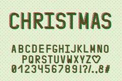 Retro- Design des Alphabetes Weihnachtsfarbart Englische Buchstaben, Zahlen, Interpunktionszeichen Monospaced-Gusstypographie ENV stock abbildung