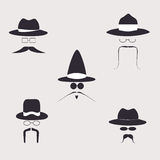 Retro design elements, hats, mustaches and glasses. Vector Stock Images