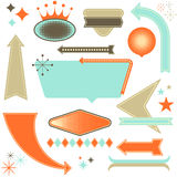 Retro Design Elements. Set of retro 1950's style design elements.  Each element is grouped individually.  Colors are global for easy editing Stock Photo
