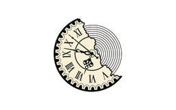 Retro design för klockalogologo vektor illustrationer