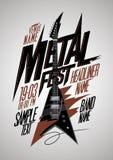 Retro design för affisch för stilmetallfest med gitarren för v-stilelectro Royaltyfria Bilder