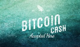 Bitcoin Cash Accepted Here Retro Design White On Grunge royalty free stock image