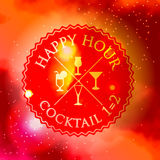 Retro design Happy Hour drink poster with Logo and Stock Photos