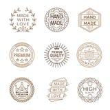 Retro Design Insignias Logotypes , Hand Made Stock Images