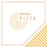 Retro design med element av gravyr Pizza vektor illustrationer