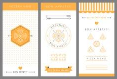 Retro design med element av gravyr Pizza stock illustrationer