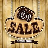 Retro design poster for big sale on wood background. Illustration of Retro design poster for big sale on wood background Royalty Free Stock Photography