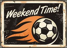 Retro design with soccer ball and flame trails. Weekend time. Retro tin sign design with soccer ball and flame trails. Sports and leisure Stock Photos