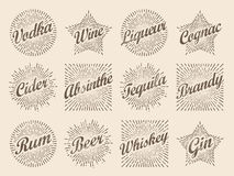 Retro design sunburst label, radiant starburst for vodka wine ci Royalty Free Stock Photos
