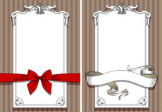 Retro design templates with drawing of red bow, banner and frame Stock Photos