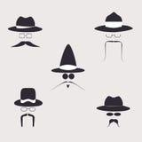 Retro designbeståndsdelar, hattar, mustascher och exponeringsglas Arkivbilder
