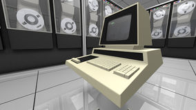 Retro designed computer in a hardware room. A close up of a vintage computer device in a hardware room. The retro computer screen and keyboard stands in the stock illustration