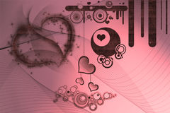 Retro designs and hearts Stock Photo