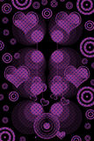 Retro designs and hearts. In violet with black background Stock Images