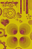Retro designs and hearts. With background pattern in yellow/orange/red Stock Images